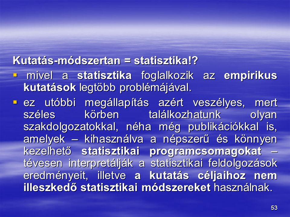 Kutatás-módszertan = statisztika!