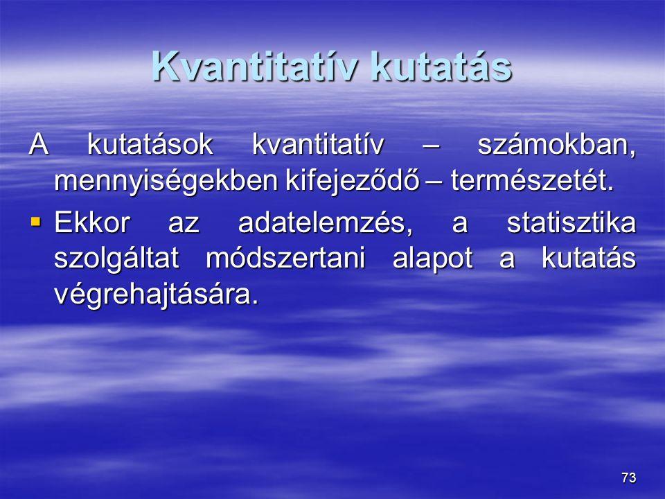 Kvantitatív kutatás A kutatások kvantitatív – számokban, mennyiségekben kifejeződő – természetét.