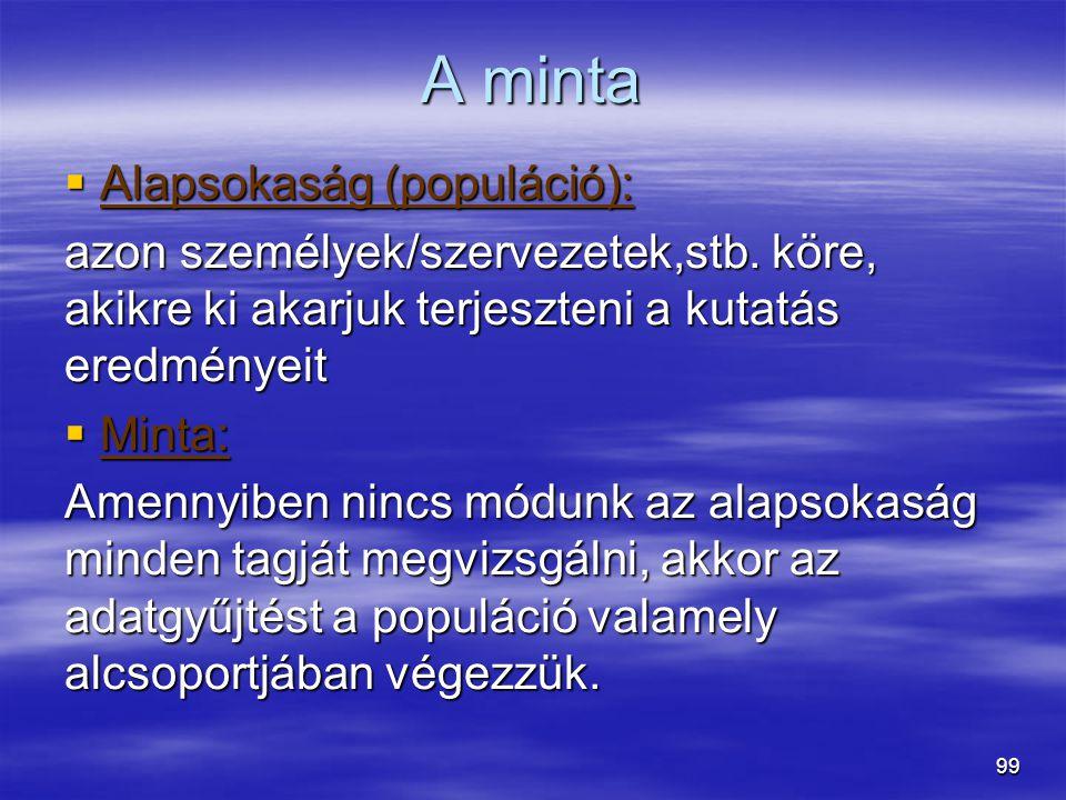 A minta Alapsokaság (populáció):