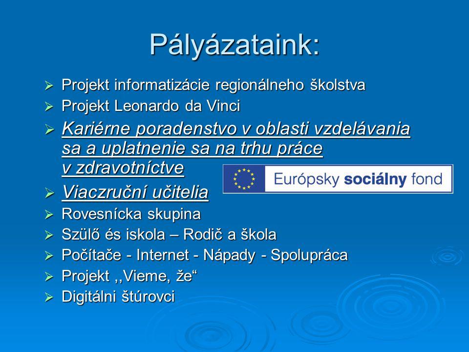 Pályázataink: Projekt informatizácie regionálneho školstva. Projekt Leonardo da Vinci.