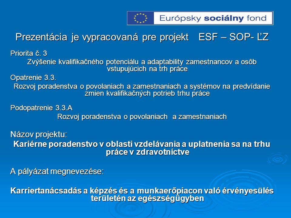 Prezentácia je vypracovaná pre projekt ESF – SOP- ĽZ