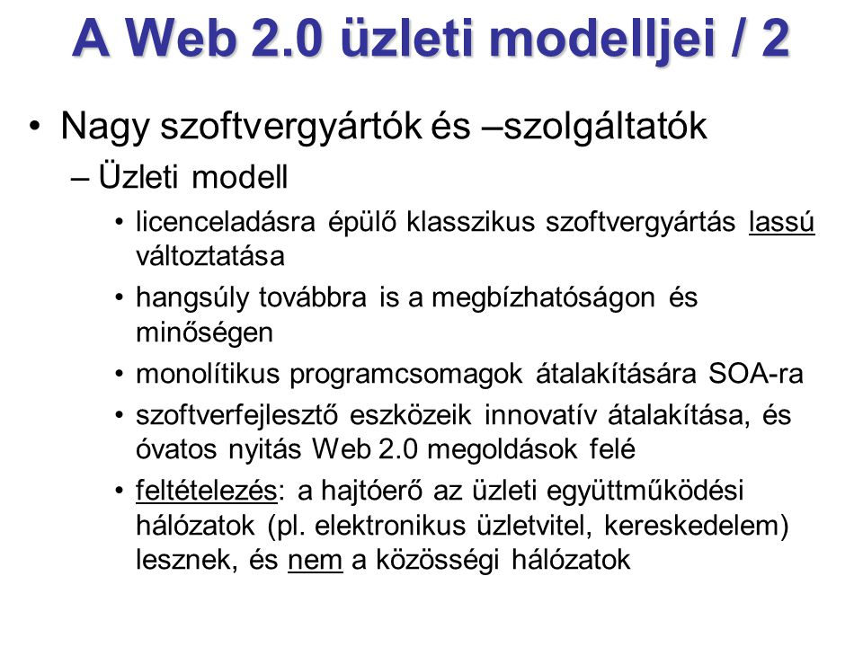 A Web 2.0 üzleti modelljei / 2