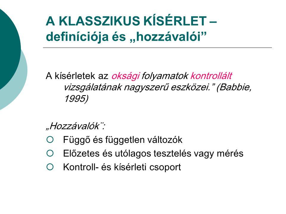"""A KLASSZIKUS KÍSÉRLET – definíciója és """"hozzávalói"""