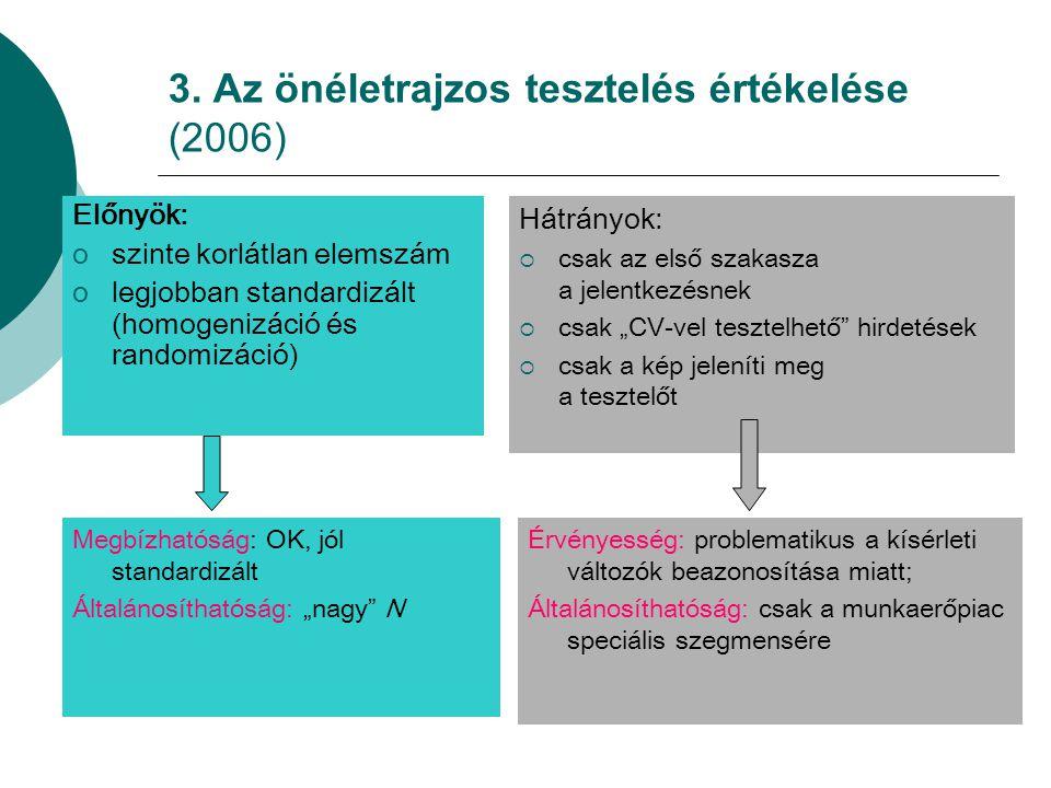3. Az önéletrajzos tesztelés értékelése (2006)