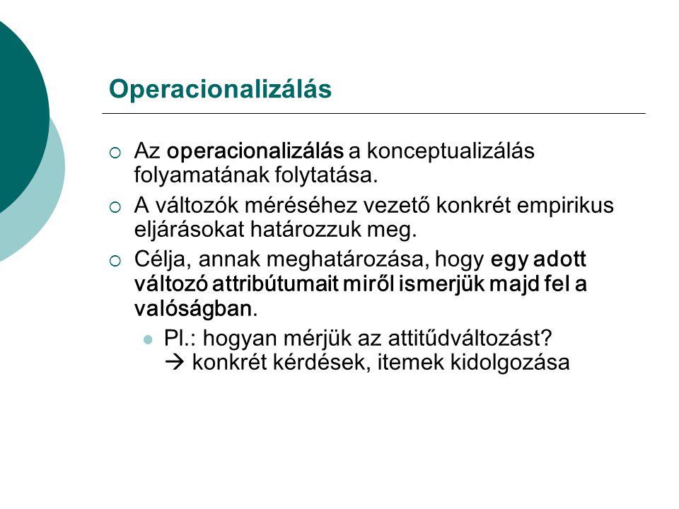Operacionalizálás Az operacionalizálás a konceptualizálás folyamatának folytatása.