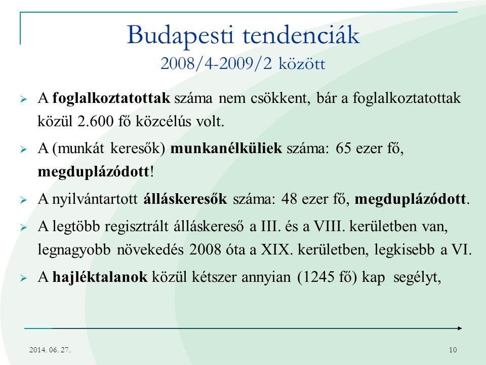 Budapesti tendenciák 2008/4-2009/2 között