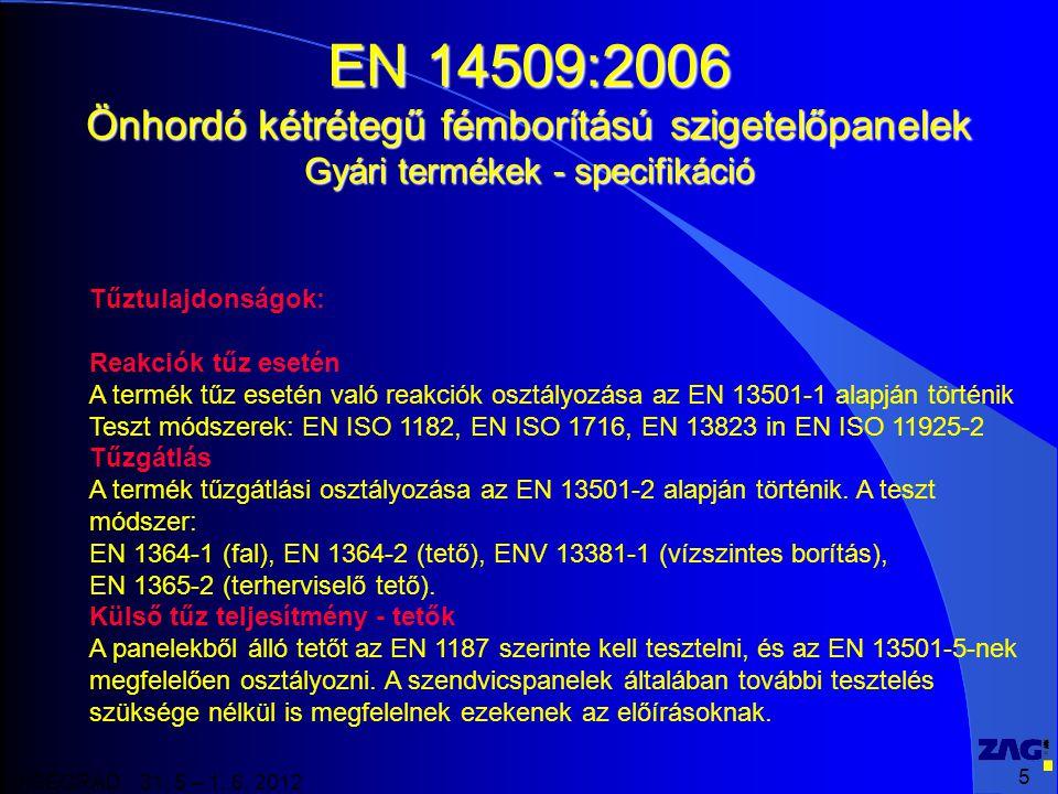 EN 14509:2006 Önhordó kétrétegű fémborítású szigetelőpanelek Gyári termékek - specifikáció