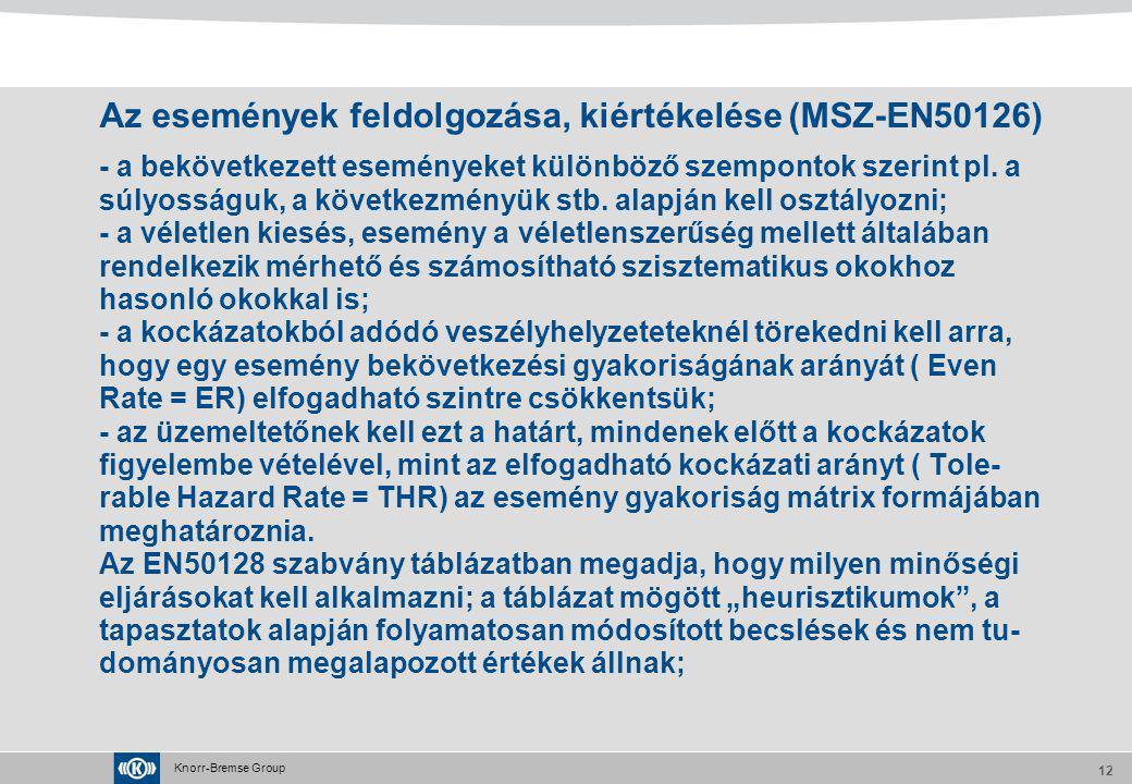 Az események feldolgozása, kiértékelése (MSZ-EN50126)