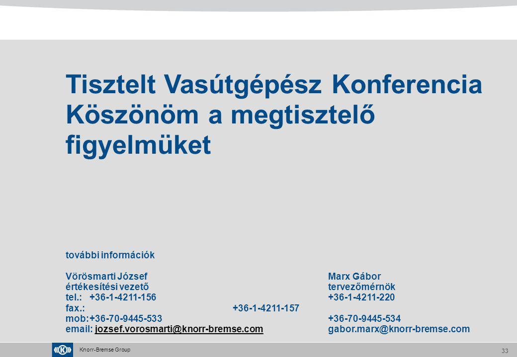 Tisztelt Vasútgépész Konferencia Köszönöm a megtisztelő figyelmüket további információk Vörösmarti József Marx Gábor értékesítési vezető tervezőmérnök tel.: +36-1-4211-156 +36-1-4211-220 fax.: +36-1-4211-157 mob: +36-70-9445-533 +36-70-9445-534 email: jozsef.vorosmarti@knorr-bremse.com gabor.marx@knorr-bremse.com