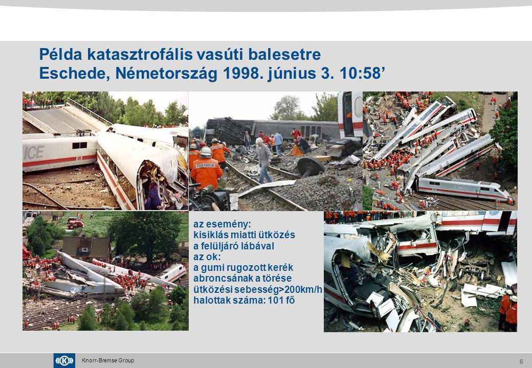 Példa katasztrofális vasúti balesetre Eschede, Németország 1998