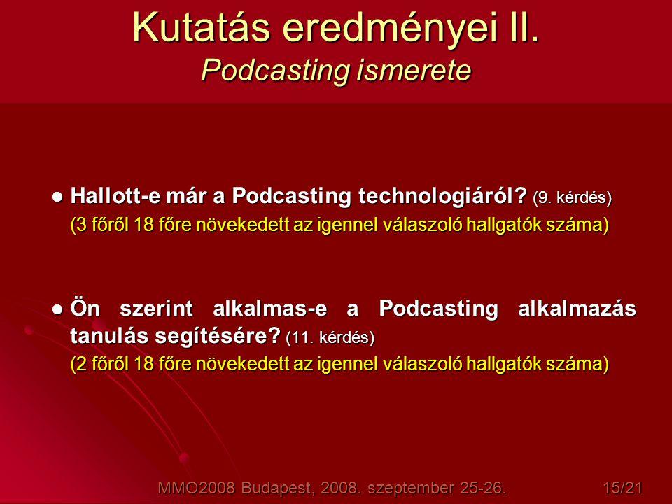 Kutatás eredményei II. Podcasting ismerete