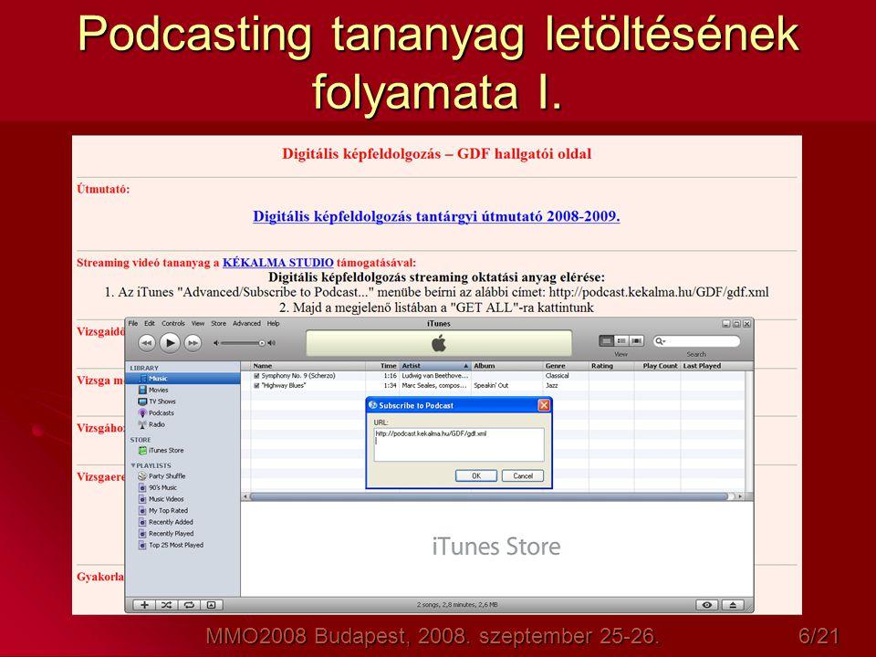 Podcasting tananyag letöltésének folyamata I.