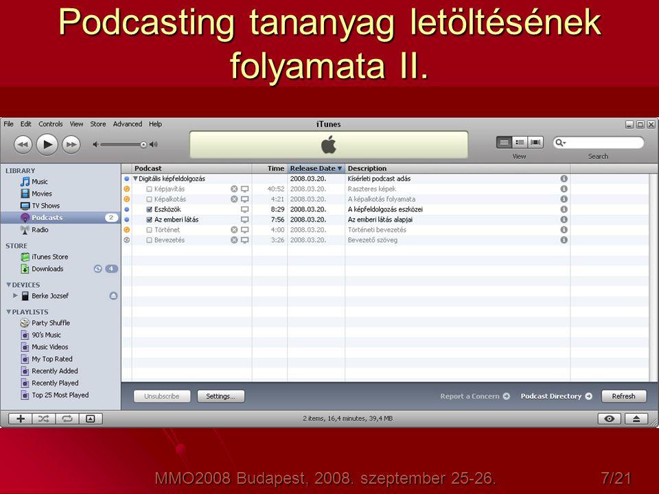 Podcasting tananyag letöltésének folyamata II.