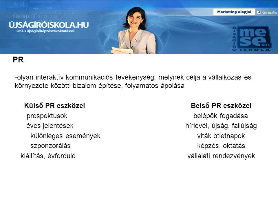 PR -olyan interaktív kommunikációs tevékenység, melynek célja a vállalkozás és környezete közötti bizalom építése, folyamatos ápolása.