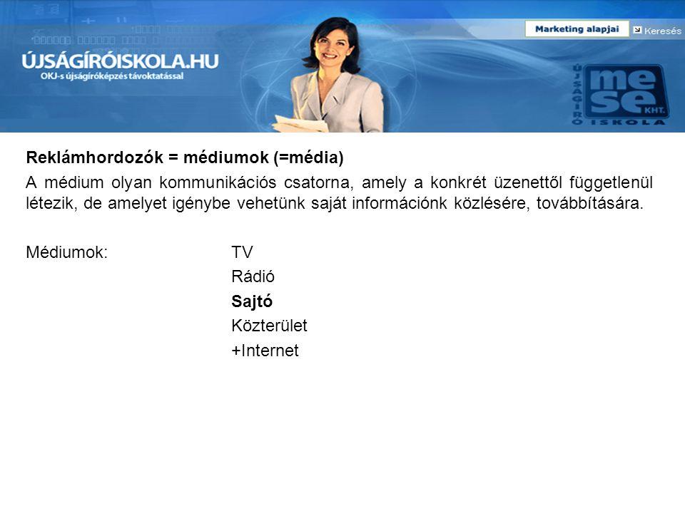 Reklámhordozók = médiumok (=média)