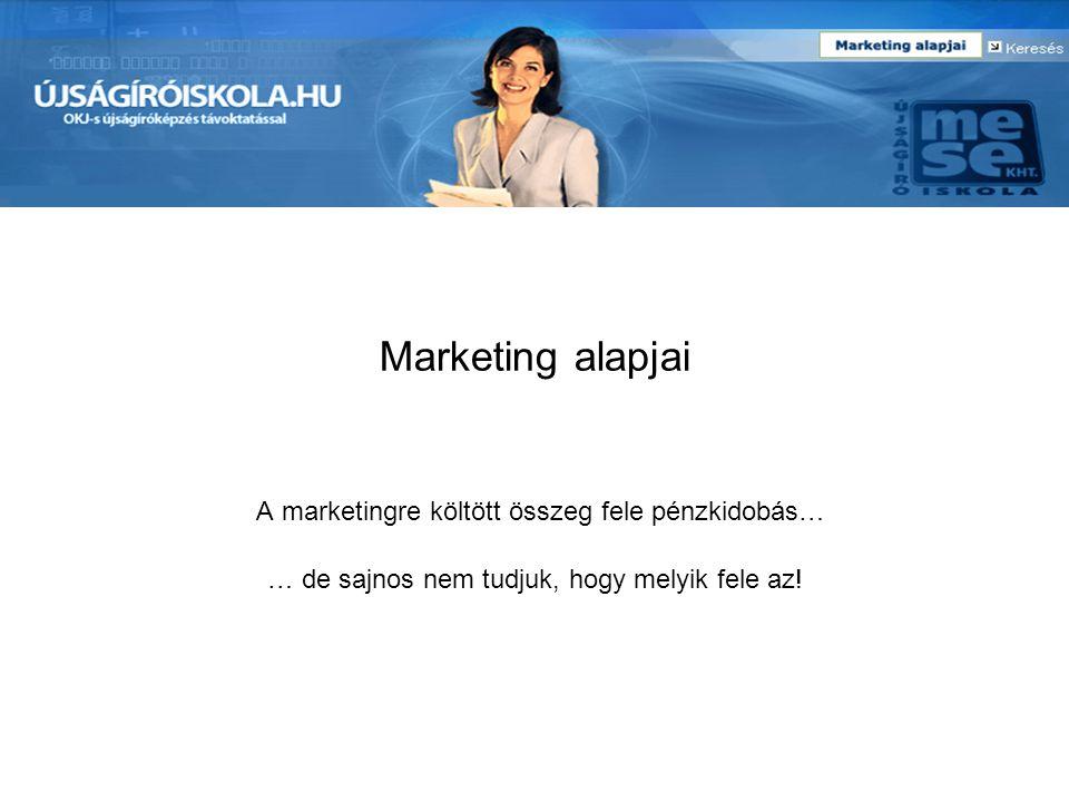 Marketing alapjai A marketingre költött összeg fele pénzkidobás… … de sajnos nem tudjuk, hogy melyik fele az!
