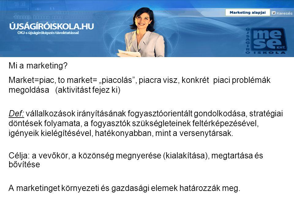 """Mi a marketing Market=piac, to market= """"piacolás , piacra visz, konkrét piaci problémák megoldása (aktivitást fejez ki)"""