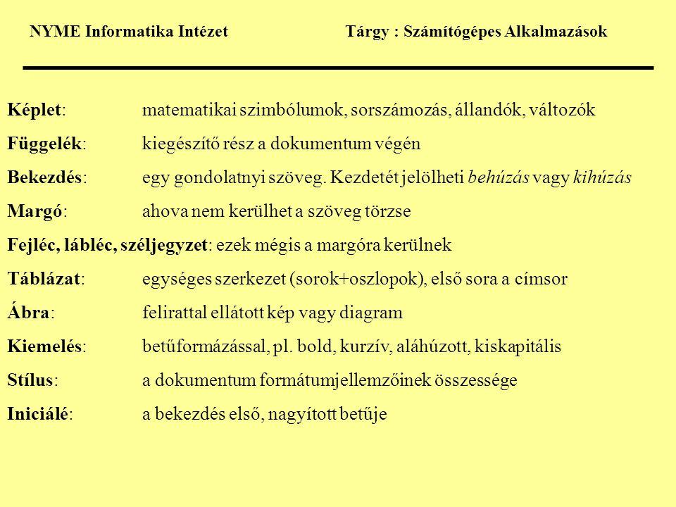 Képlet: matematikai szimbólumok, sorszámozás, állandók, változók