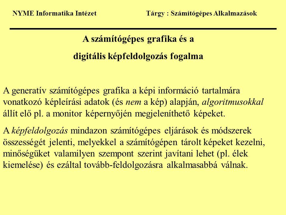 A számítógépes grafika és a digitális képfeldolgozás fogalma
