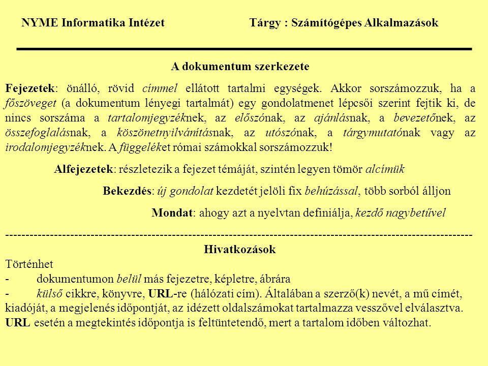 A dokumentum szerkezete