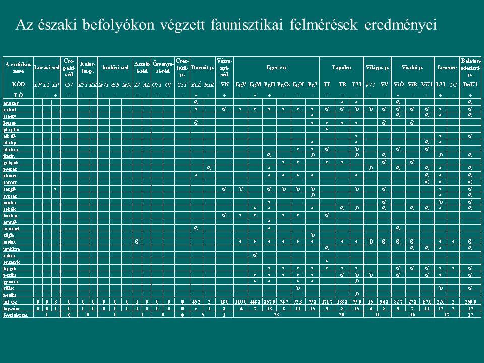 Az északi befolyókon végzett faunisztikai felmérések eredményei