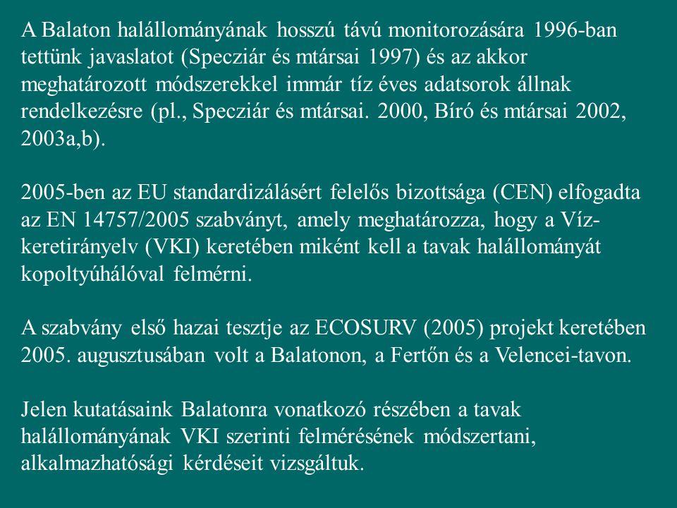 A Balaton halállományának hosszú távú monitorozására 1996-ban tettünk javaslatot (Specziár és mtársai 1997) és az akkor meghatározott módszerekkel immár tíz éves adatsorok állnak rendelkezésre (pl., Specziár és mtársai. 2000, Bíró és mtársai 2002, 2003a,b).