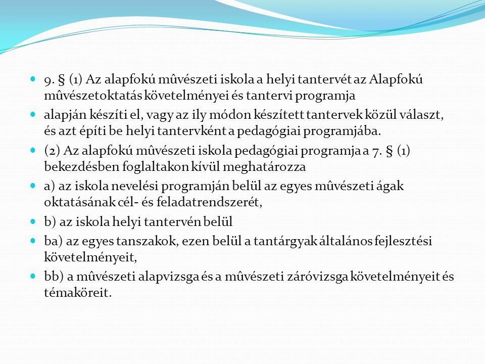 9. § (1) Az alapfokú mûvészeti iskola a helyi tantervét az Alapfokú mûvészetoktatás követelményei és tantervi programja