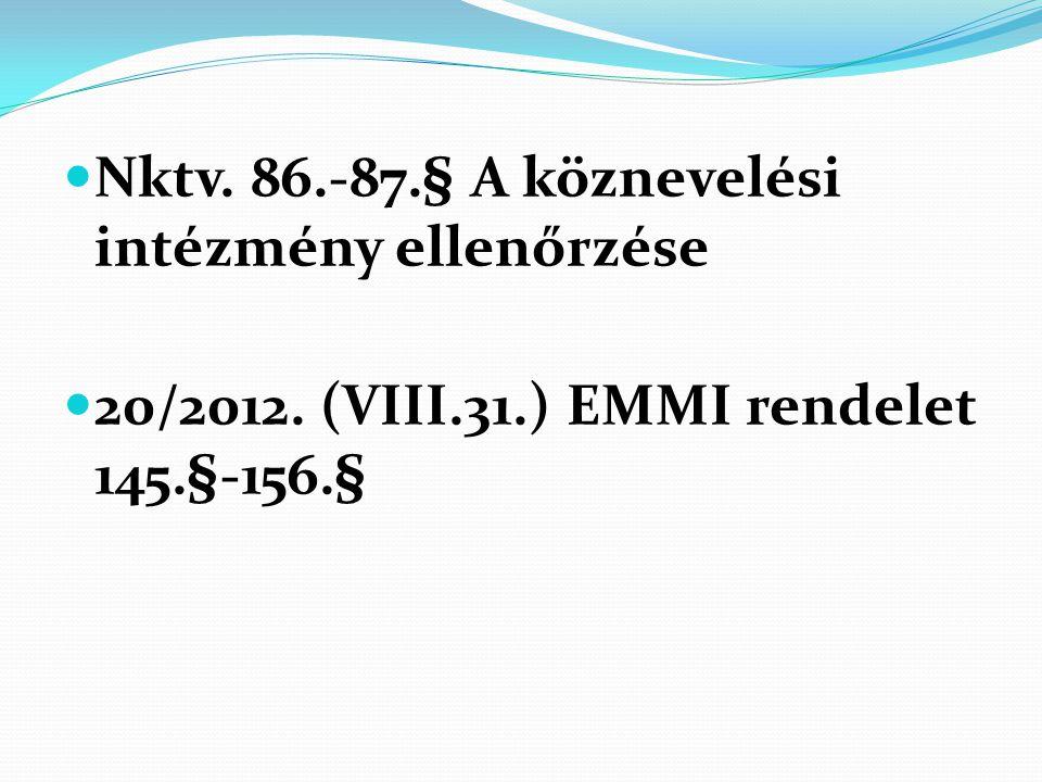Nktv. 86.-87.§ A köznevelési intézmény ellenőrzése