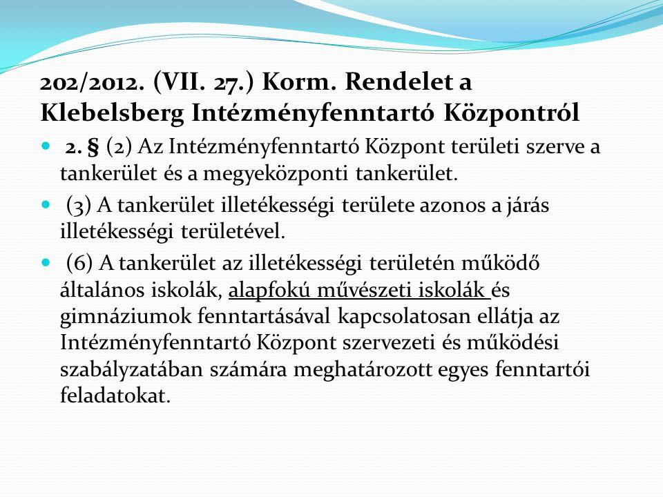 202/2012. (VII. 27.) Korm. Rendelet a Klebelsberg Intézményfenntartó Központról
