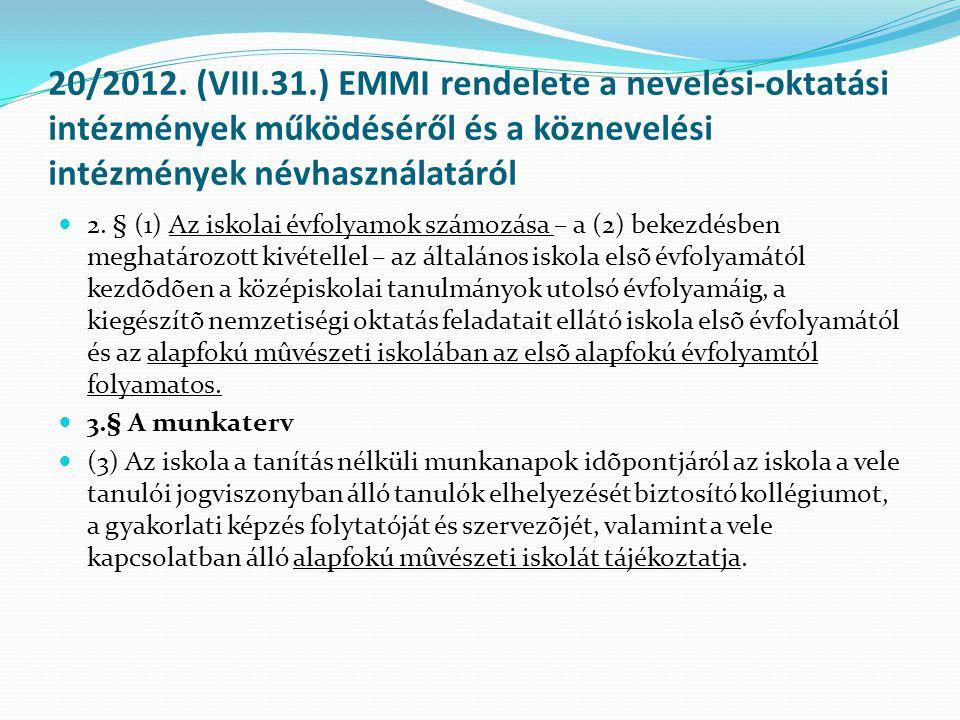 20/2012. (VIII.31.) EMMI rendelete a nevelési-oktatási intézmények működéséről és a köznevelési intézmények névhasználatáról
