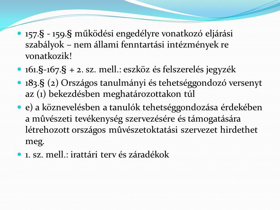 157.§ - 159.§ működési engedélyre vonatkozó eljárási szabályok – nem állami fenntartási intézmények re vonatkozik!