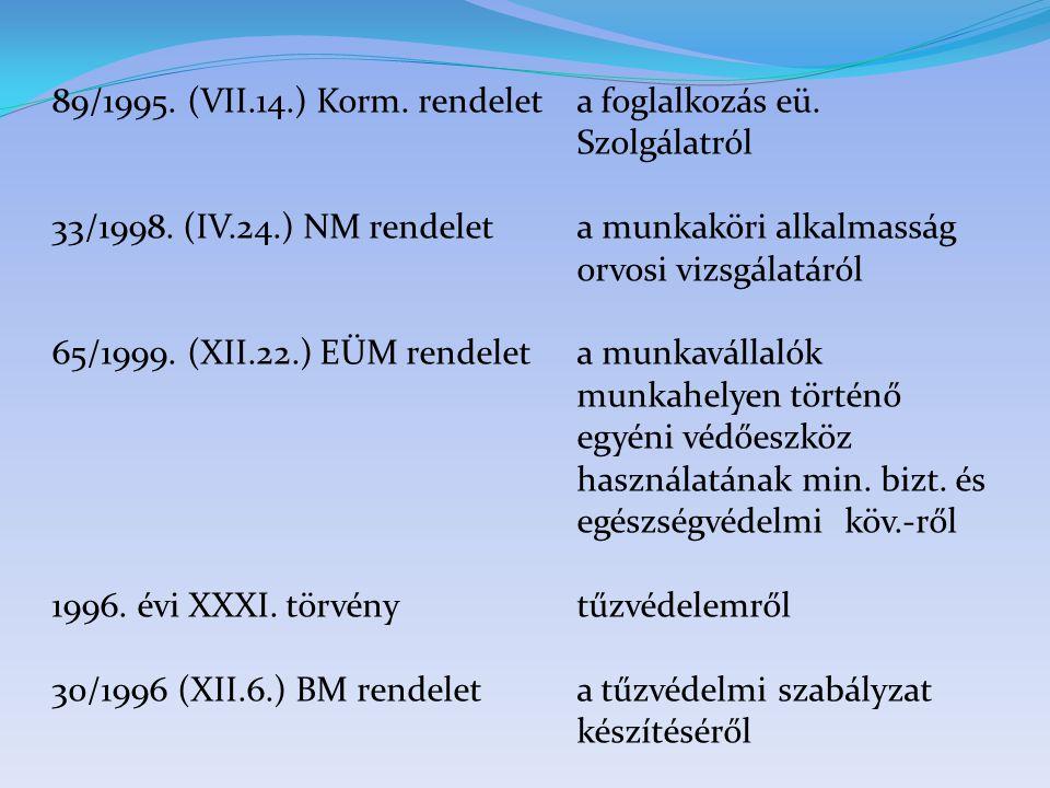 89/1995. (VII.14.) Korm. rendelet a foglalkozás eü. Szolgálatról