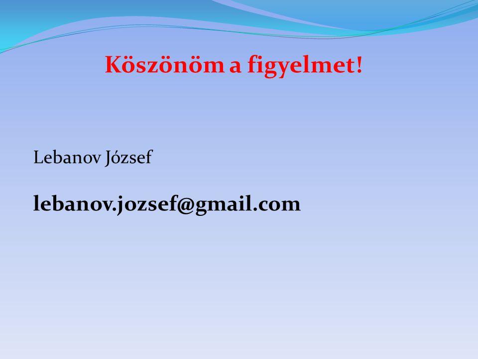 Köszönöm a figyelmet! Lebanov József lebanov.jozsef@gmail.com