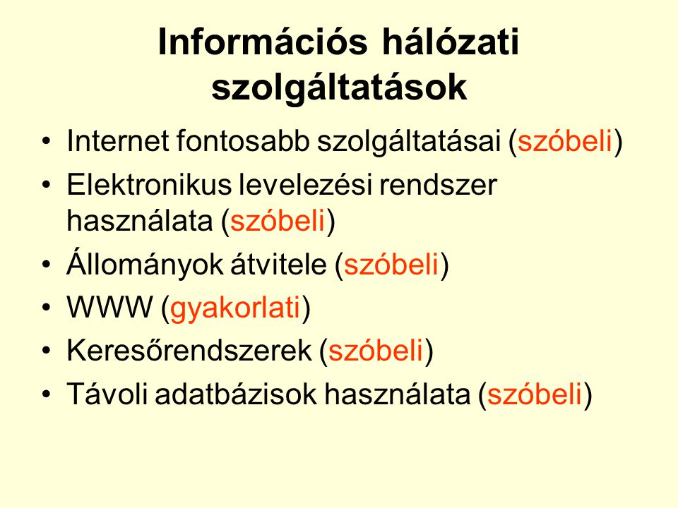 Információs hálózati szolgáltatások