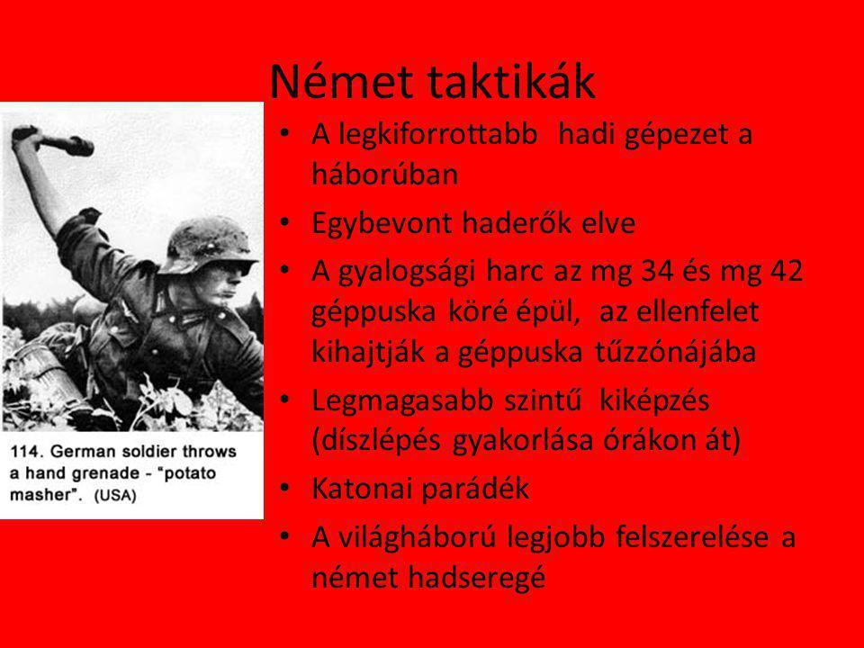 Német taktikák A legkiforrottabb hadi gépezet a háborúban
