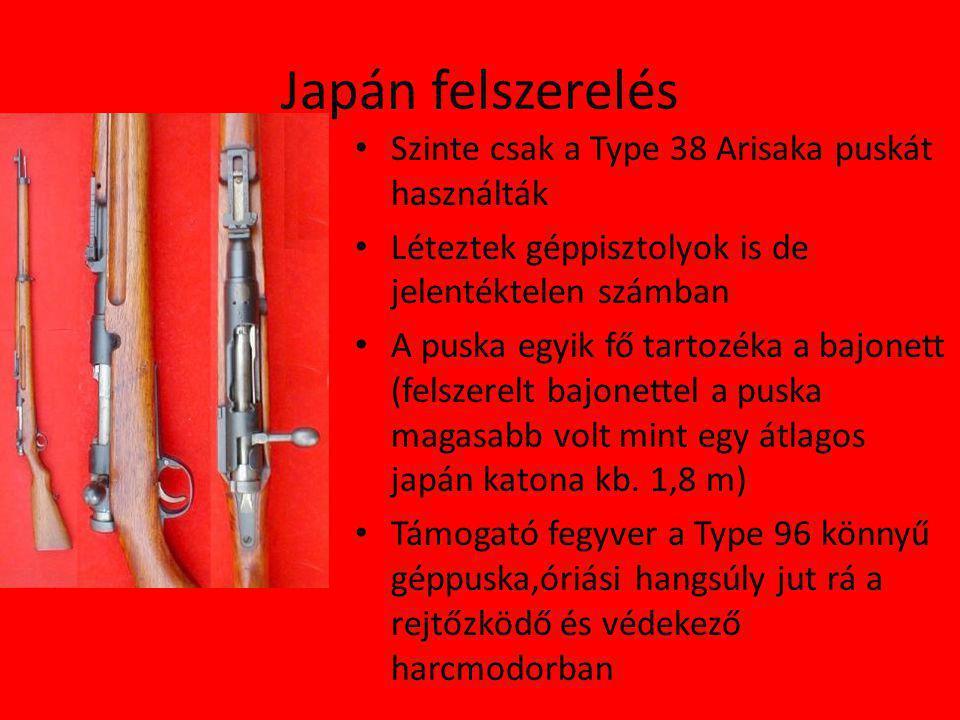 Japán felszerelés Szinte csak a Type 38 Arisaka puskát használták