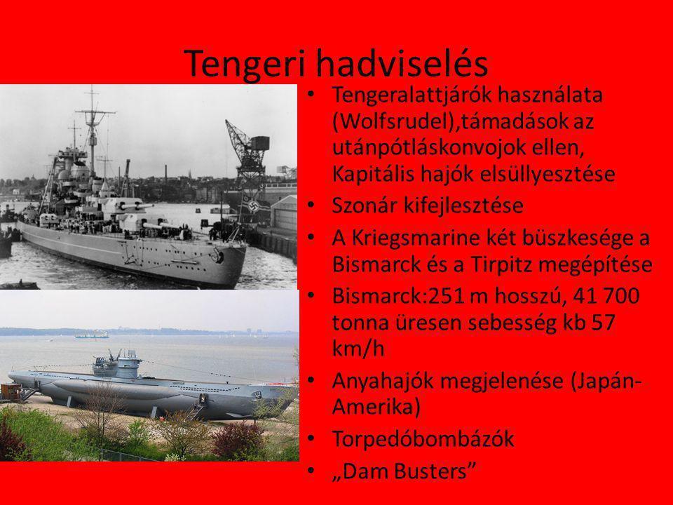 Tengeri hadviselés Tengeralattjárók használata (Wolfsrudel),támadások az utánpótláskonvojok ellen, Kapitális hajók elsüllyesztése.