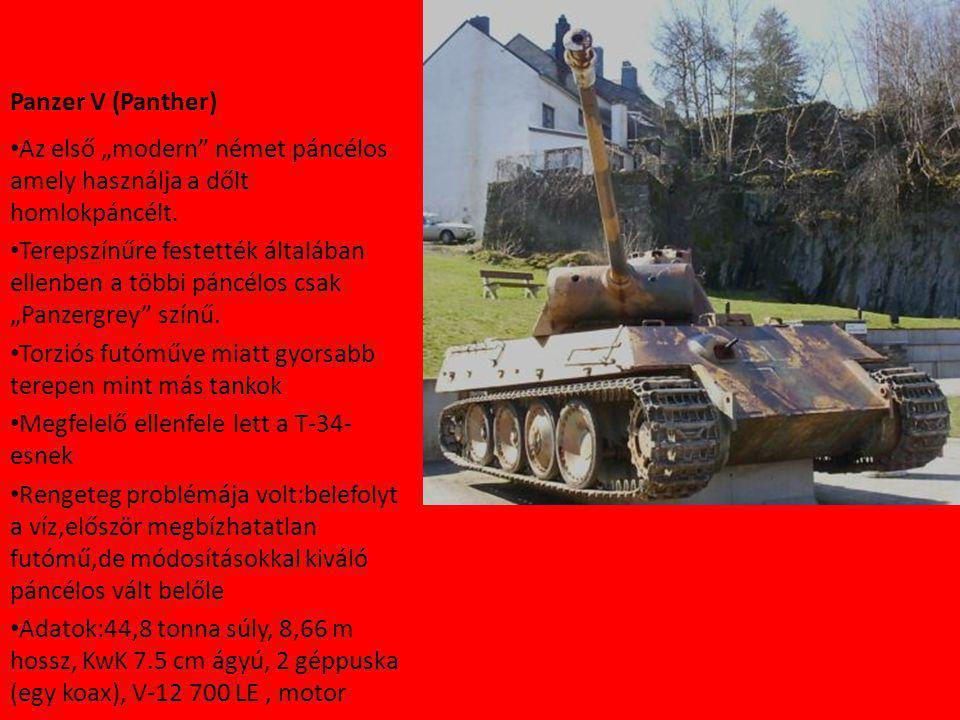 """Panzer V (Panther) Az első """"modern német páncélos amely használja a dőlt homlokpáncélt."""