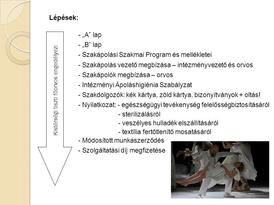 """Lépések: """"A lap """"B lap Szakápolási Szakmai Program és mellékletei"""