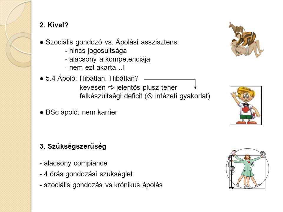 2. Kivel ● Szociális gondozó vs. Ápolási asszisztens: - nincs jogosultsága. - alacsony a kompetenciája.