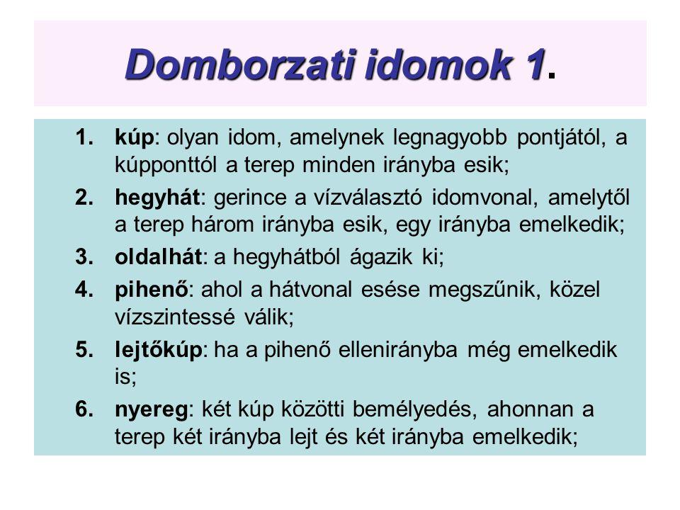 Domborzati idomok 1. kúp: olyan idom, amelynek legnagyobb pontjától, a kúpponttól a terep minden irányba esik;