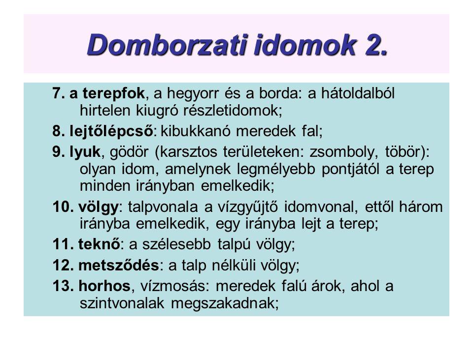 Domborzati idomok 2. 7. a terepfok, a hegyorr és a borda: a hátoldalból hirtelen kiugró részletidomok;
