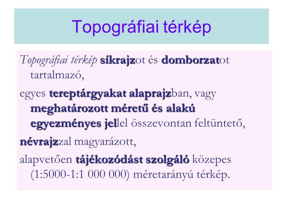 Topográfiai térkép Topográfiai térkép síkrajzot és domborzatot tartalmazó,