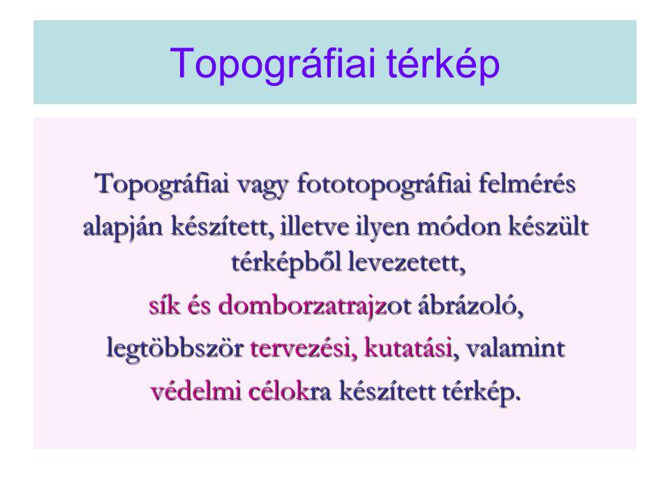 Topográfiai térkép Topográfiai vagy fototopográfiai felmérés