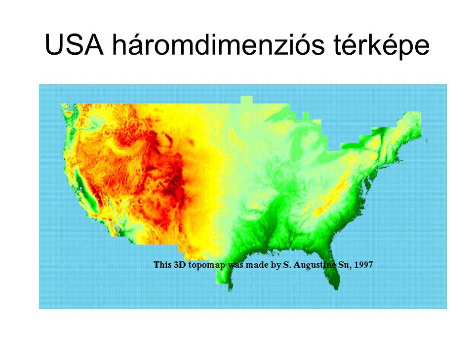 USA háromdimenziós térképe