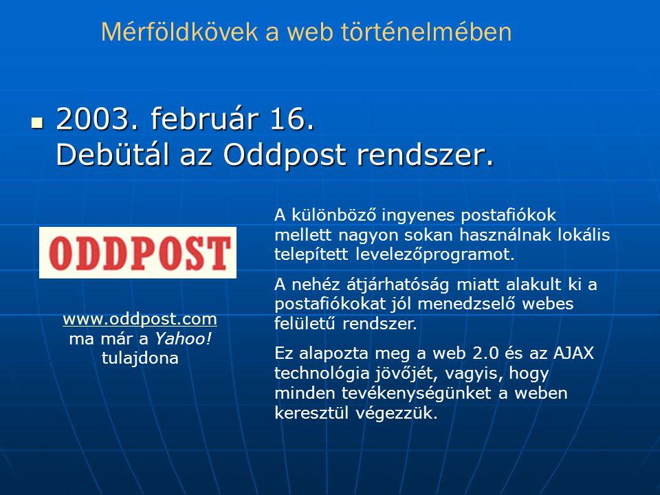 2003. február 16. Debütál az Oddpost rendszer.