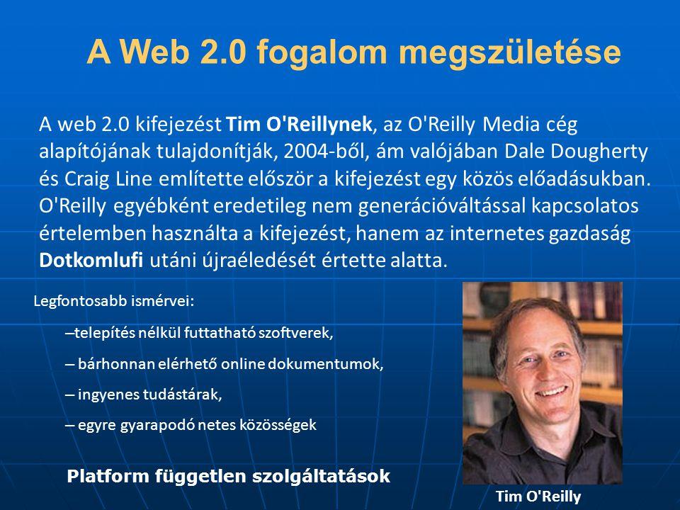 A Web 2.0 fogalom megszületése Platform független szolgáltatások