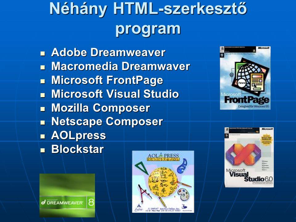 Néhány HTML-szerkesztő program