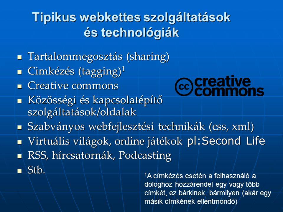 Tipikus webkettes szolgáltatások és technológiák