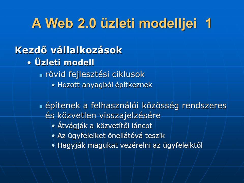 A Web 2.0 üzleti modelljei 1 Kezdő vállalkozások Üzleti modell